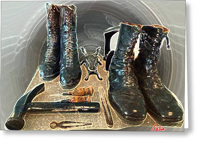 Black Boots Mixed Media Greeting Cards - Old Ancient Lady and Mens Boots Greeting Card by Colette V Hera  Guggenheim