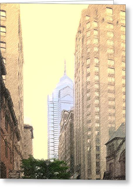 Phillies Digital Greeting Cards - Old and New City Streets Philly Greeting Card by Russ Harris