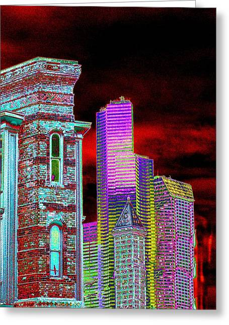 Highrise Digital Art Greeting Cards - Old and New Seattle Greeting Card by Tim Allen