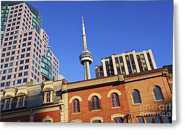 Sight See Greeting Cards - Old and new Toronto Greeting Card by Elena Elisseeva