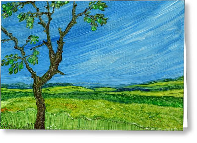 Anna Maciejewska-dyba Greeting Cards - Old Apple Tree Greeting Card by Anna Folkartanna Maciejewska-Dyba