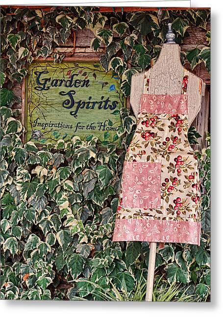 Apron Greeting Cards - Old Apron - Garden Spirits Greeting Card by Linda Phelps