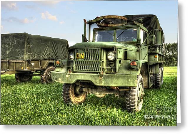 Old Army Truck In Field Greeting Card by Dan Friend