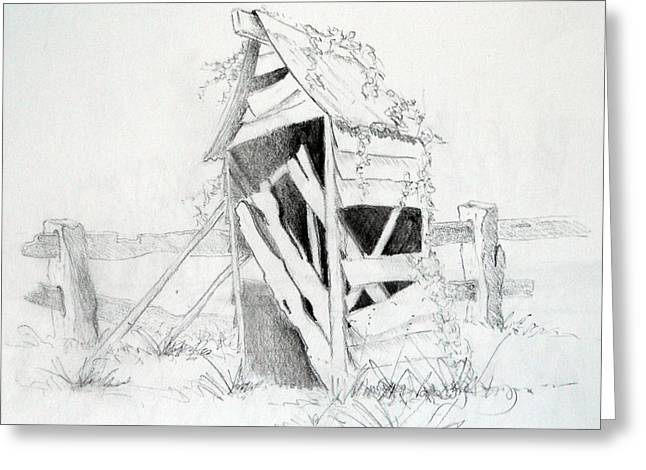 Weatherboard Greeting Cards - Old Aussie Outhouse Greeting Card by Carol McLagan