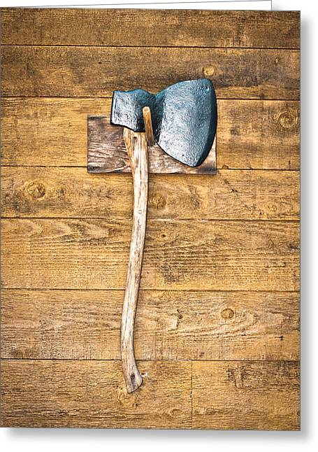 Peg Greeting Cards - Old axe Greeting Card by Tom Gowanlock