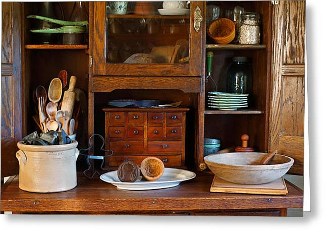 Old Bakers Cabinet Greeting Card by Carmen Del Valle