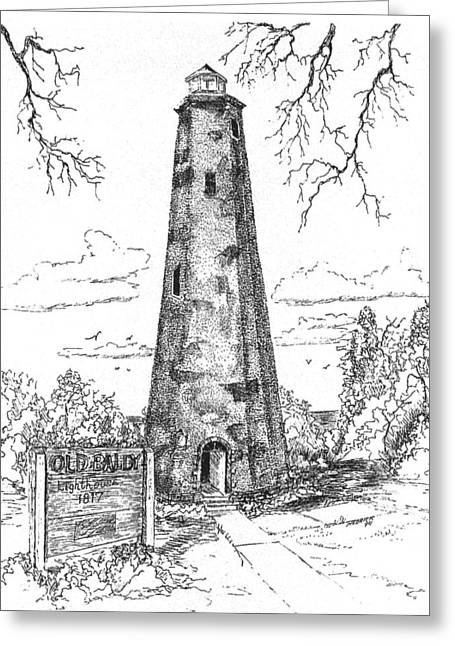 North Shore Drawings Greeting Cards - Old Baldy Greeting Card by Barney Hedrick