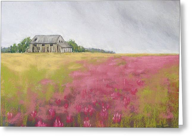 Old Barn Pastels Greeting Cards - Old Barn and Red Clover Greeting Card by Christine Camp