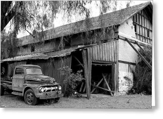 Runner Boards Greeting Cards - Old Barn Black and White Greeting Card by Jeff Lowe