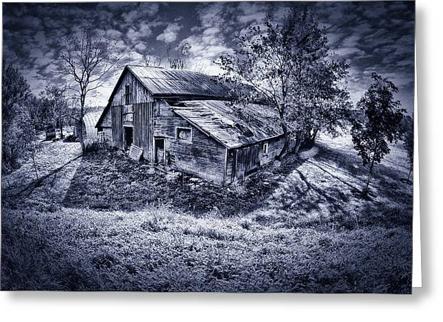 Duo Tone Digital Art Greeting Cards - Old Barn Greeting Card by Donald Schwartz