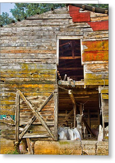 Red Roofed Barn Greeting Cards - Old Barn Door Greeting Card by Debra and Dave Vanderlaan