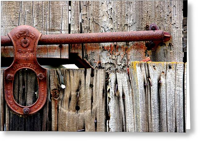 Runner Boards Greeting Cards - Old Barn Door Detail Greeting Card by Jeff Lowe