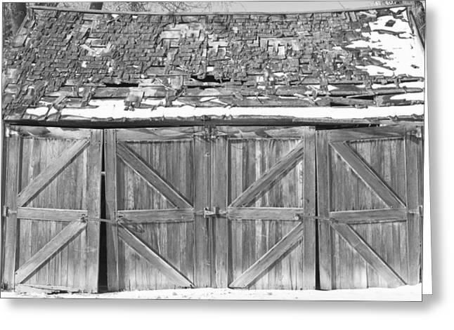 Black White Photography Prints Greeting Cards - Old Barn in Black and White Greeting Card by James BO  Insogna