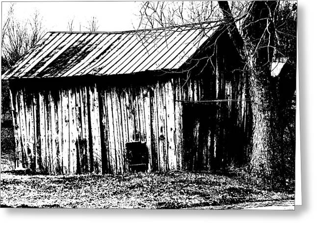 Old Barn In Black And White Greeting Card by Ronald T Williams