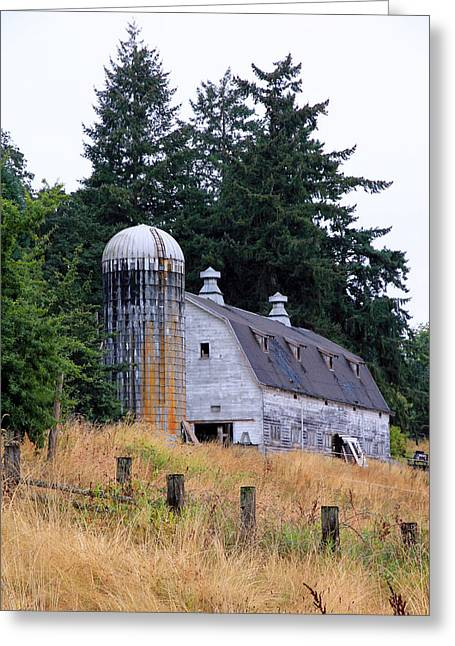Recently Sold -  - Old Barn Pen And Ink Greeting Cards - Old Barn in Field Greeting Card by Athena Mckinzie