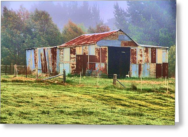 Old Barn In The Mist Greeting Card by Fran Woods