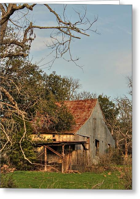 Shack Greeting Cards - Old Barn Greeting Card by Sarah Broadmeadow-Thomas