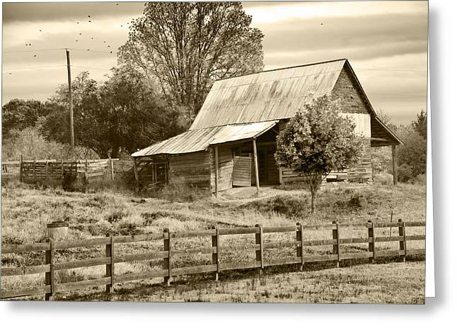 Old Barn Sepia Tint Greeting Card by Susan Leggett