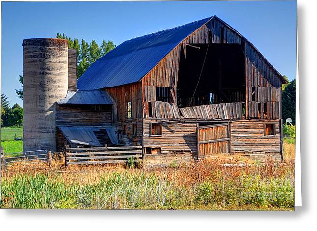 Cache Greeting Cards - Old Barn with Concrete Grain Silo - Utah Greeting Card by Gary Whitton