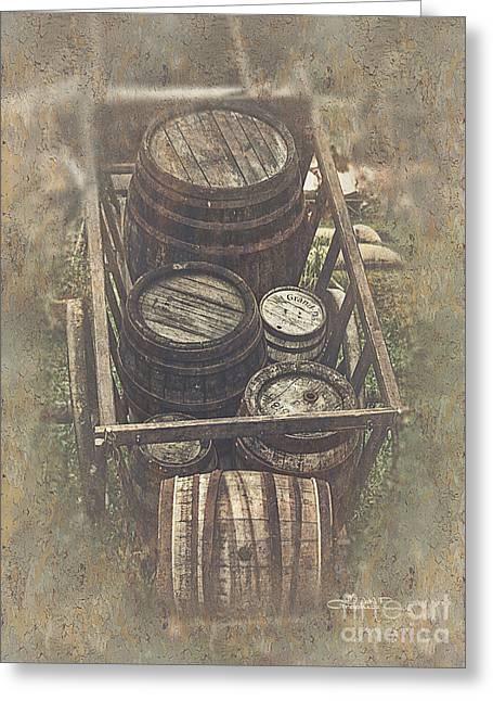 Wagon Wheels Digital Art Greeting Cards - Old Barrels Greeting Card by Jutta Maria Pusl