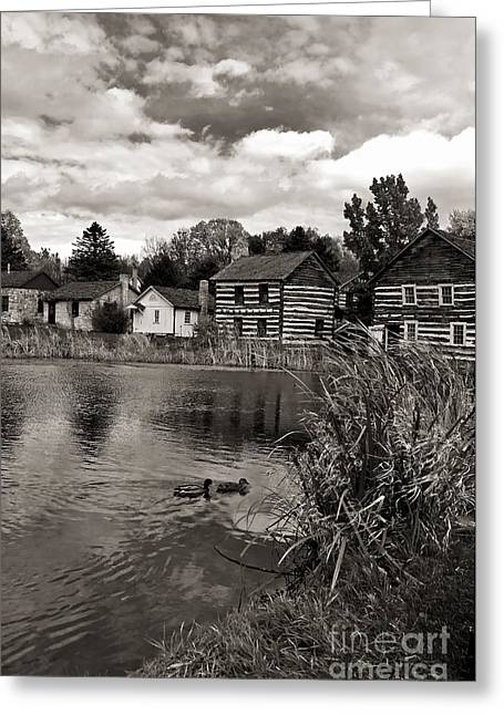 Log Cabin Photographs Digital Greeting Cards - Old Bedford Village Pennsylvania_monochrome Greeting Card by Kathleen K Parker