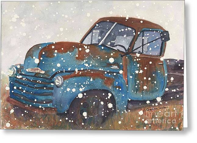 Snowy Day Greeting Cards - Old Blue Chevy Winter Storm Greeting Card by CheyAnne Sexton