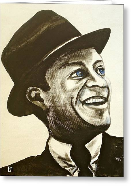Frank Sinatra Paintings Greeting Cards - Old Blue Eyes Greeting Card by Pete Maier