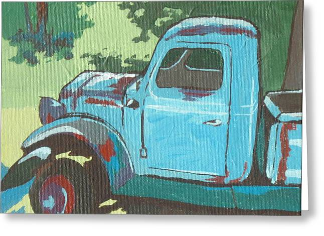 Rusted Cars Paintings Greeting Cards - Old Blue Greeting Card by Sandy Tracey