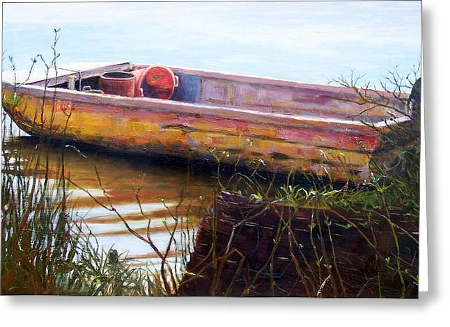Boats At Dock Greeting Cards - Old Boat at McClellandville Greeting Card by Elaine Schulstad