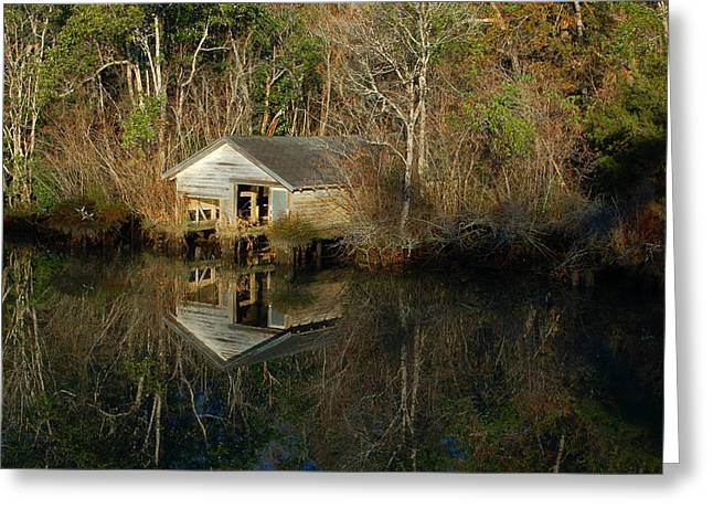 Crimson Tide Greeting Cards - Old boat House Greeting Card by Michael Thomas