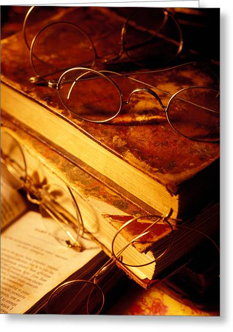 Book Collection Greeting Cards - Old books and glasses Greeting Card by Garry Gay