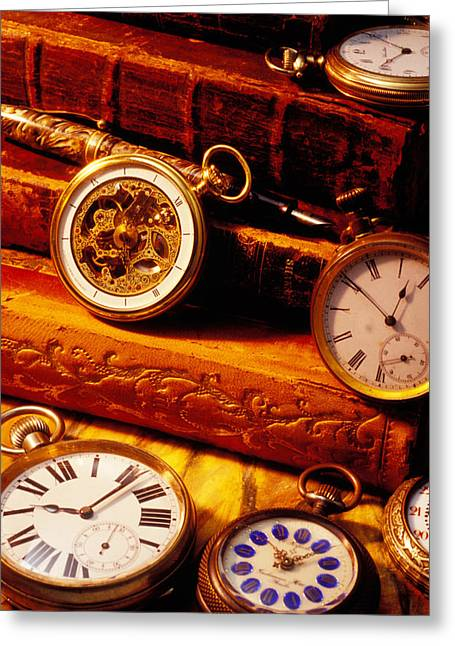 Book Collection Greeting Cards - Old Books And Pocket Watches Greeting Card by Garry Gay