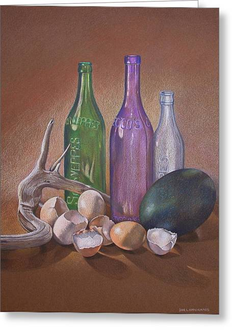 Old Objects Drawings Greeting Cards - Old Bottles Egg Shells and Driftwood  Greeting Card by Jan Lawnikanis