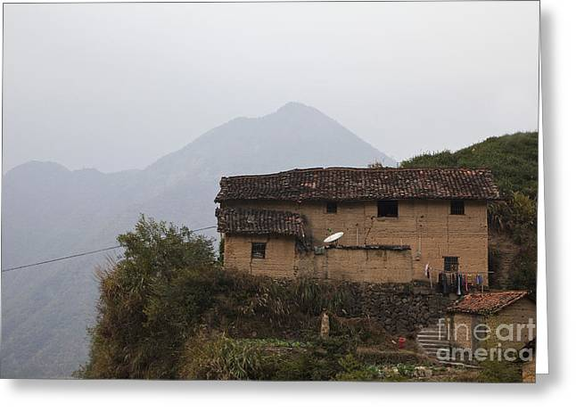 Old Beijing Greeting Cards - Old Brick Home on a Hillside Greeting Card by Shannon Fagan