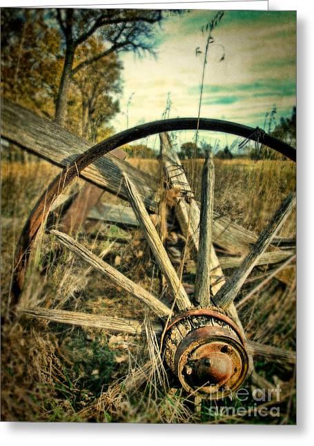 Axels Greeting Cards - Old Broken Wagon Wheel Greeting Card by Jill Battaglia