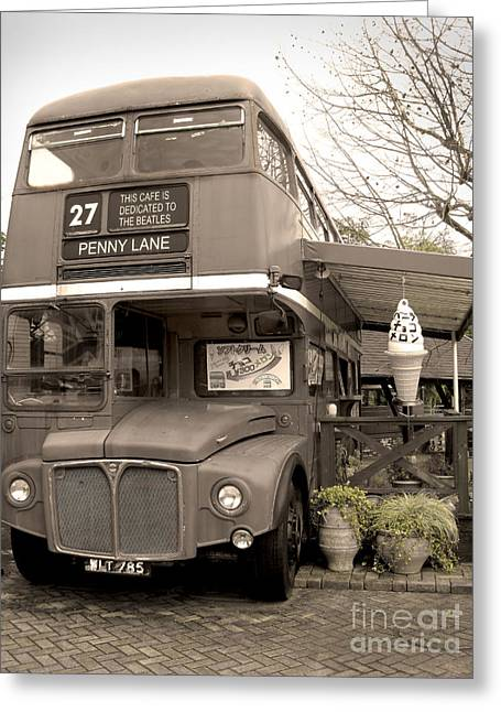 Double Decker Greeting Cards - Old Bus Cafe Greeting Card by Eena Bo