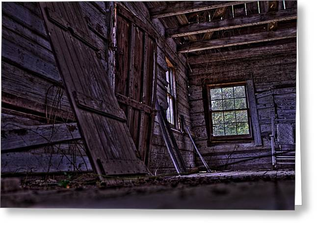 Cabin Window Greeting Cards - Old Cabin HDR Greeting Card by Jason Blalock