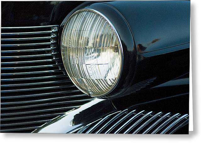 Caddy Greeting Cards - Old Caddy Headlight Greeting Card by Pat Exum