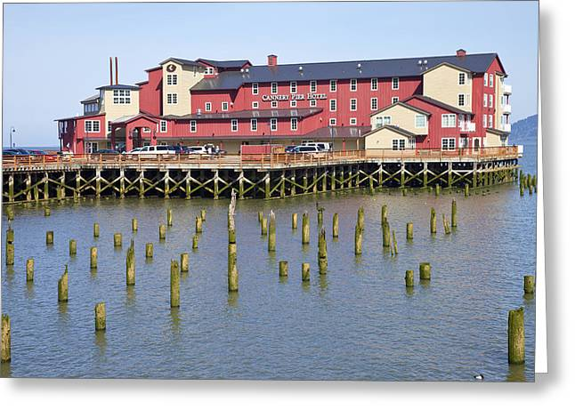 Oceanview Greeting Cards - Old cannery hotel Astoria OR. Greeting Card by Gino Rigucci