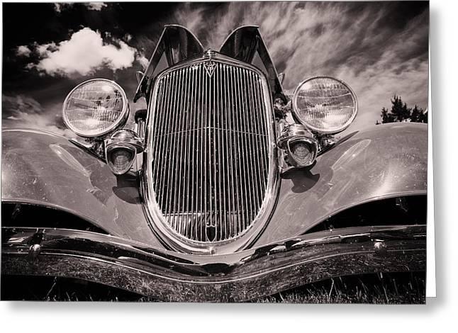 Headlight Greeting Cards - Old Car Greeting Card by Ian MacDonald
