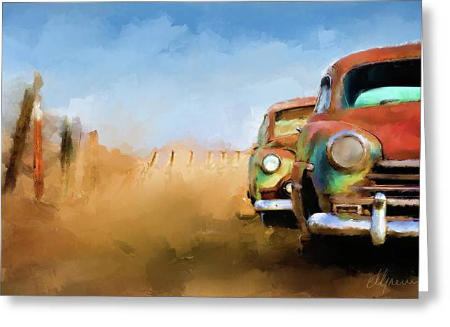 Haugesund Greeting Cards - Old Cars Rusting painting Greeting Card by Michael Greenaway