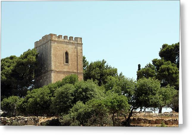 Hebron Greeting Cards - Old Castle in Hebron Greeting Card by Munir Alawi