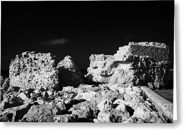 Pafos Greeting Cards - Old Castle Ruins Built Into Kato Paphos Harbour Wall Republic Of Cyprus Europe Greeting Card by Joe Fox
