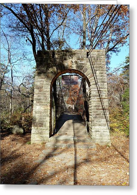 Natchez Trace Parkway Greeting Cards - Old CCC Swinging Bridge Greeting Card by Joel Deutsch