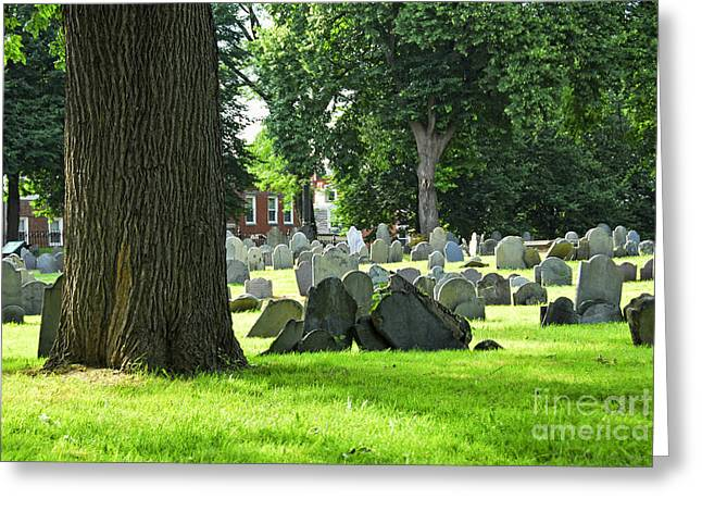 Gravestones Greeting Cards - Old cemetery in Boston Greeting Card by Elena Elisseeva