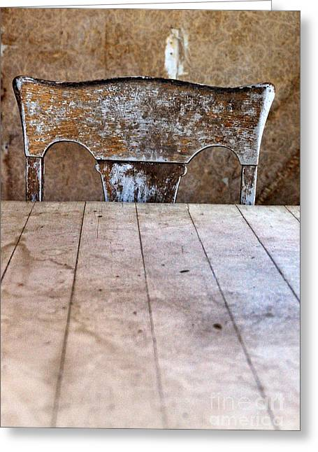 Empty Chairs Greeting Cards - Old Chair at Table Greeting Card by Jill Battaglia