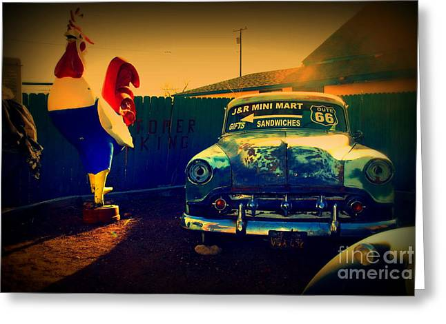 Markt Greeting Cards - Old Chevrolet on Route 66 Greeting Card by Susanne Van Hulst