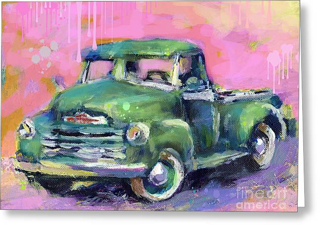 Impressionistic Poster Greeting Cards - Old CHEVY Chevrolet Pickup Truck on a street Greeting Card by Svetlana Novikova