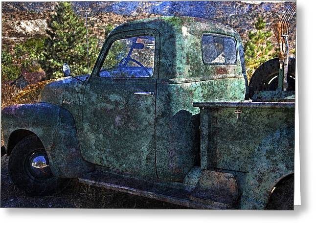 Chevrolet Pickup Truck Greeting Cards - Old Chevy Pickup Truck Greeting Card by John Stephens