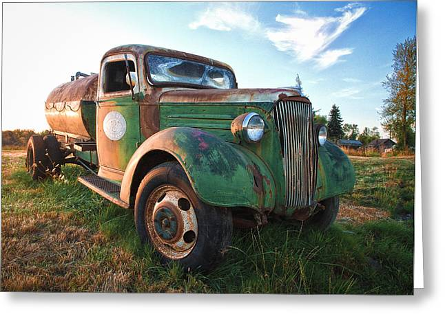 1949 Plymouth Greeting Cards - Old Chevy Tanker Truck Greeting Card by Steve McKinzie